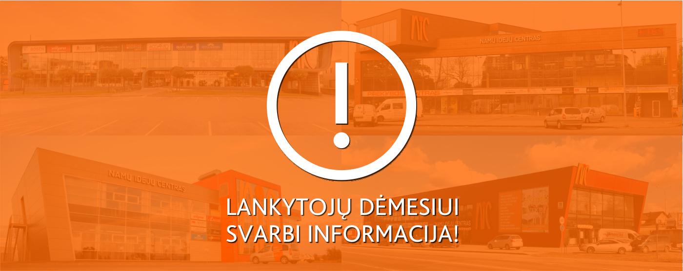 Prekybos centrų NIC darbo laikas nuo kovo 16 dienos
